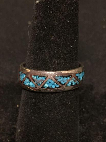 Broken Edge Turquoise Inlaid Staggered Triangle Eternity Design 7mm Wide Old Pawn Native American
