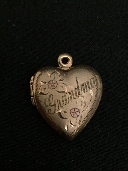 Grandma Themed Filigree Decorated 20x20mm 14Kt Gold-Filled Heart Locket Pendant