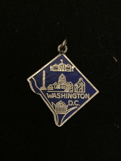 Detailed Enameled Washington D.C. Sterling Silver Charm