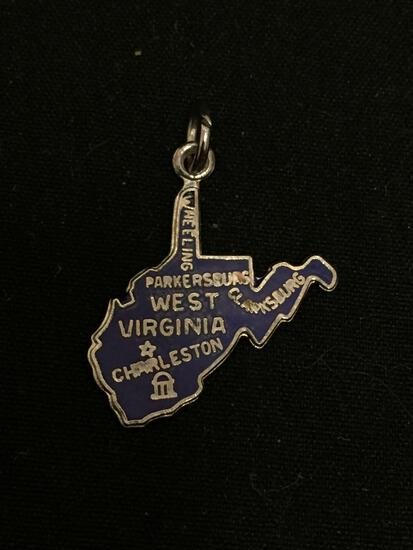 Detailed Enameled State of West Virginia Sterling Silver Charm
