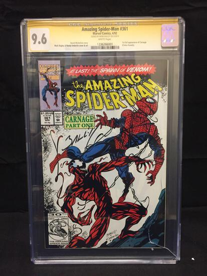 CGC Graded 9.6 Amazing Spider-Man #361 Signed by Mark Bagley 1st Carnage Comic Book from Estate