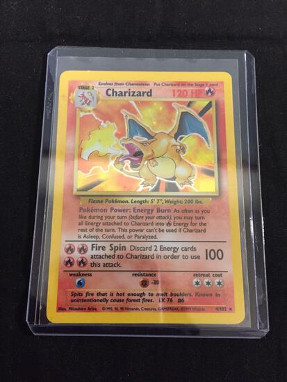 Vintage Pokemon Charizard Base Set Holofoil Rare Card 4/102 from Collection