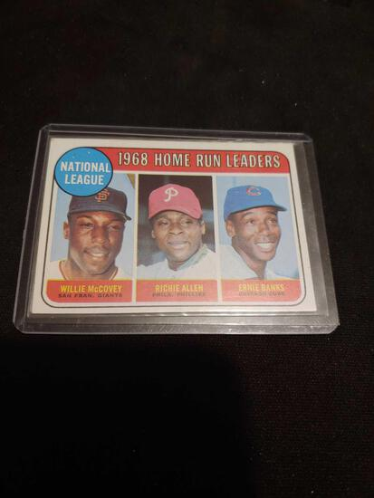 1968 Topps Homerun Leaders Ernie Banks, Willie McCovey, Richie Allen card