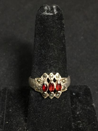 Three Marquise Faceted Garnet Gem Centers w/ Milgrain Marcasite Detail Vintage Old Pawn Sterling