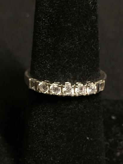 PAJ Designer Five Round Faceted CZ Centers w/ Twin Baguette Sides 3mm Wide Sterling Silver Ring Band