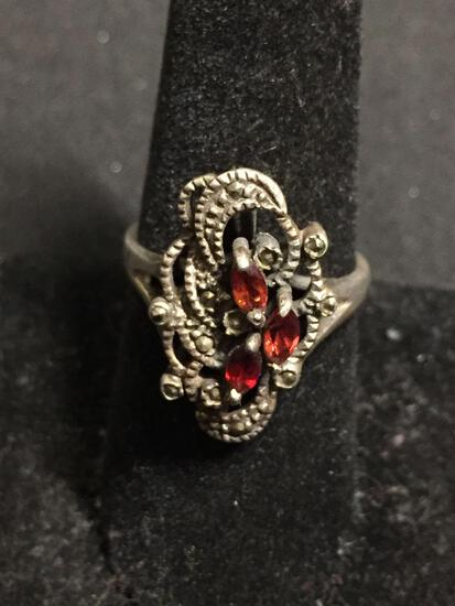 Three Marquise Faceted Garnet Centers w/ Milgrain Marcasite Accents 22mm Long Tapered Vintage Old