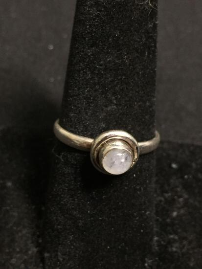 Round 5mm Moonstone Cabochon Center Handmade High Polished Sterling Silver Ring Band