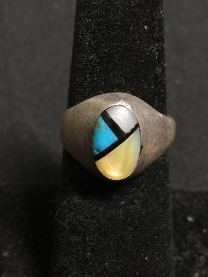 Old Pawn Native American Style Brush Finish 13mm Wide Tapered Sterling Silver Ring Band w/ Turquoise