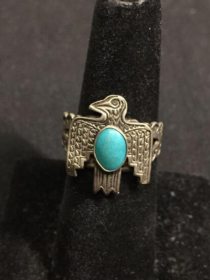 Handmade Old Pawn Native American 20mm Long Eagle Motif Top w/ Oval 9x7mm Turquoise Cabochon Center