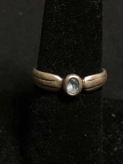 Handmade Old Pawn 5mm Wide Sterling Silver Ring Band w/ Bezel Set Oval Faceted Blue Topaz Center