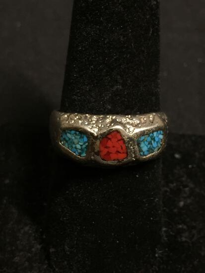 Old Pawn Native American Nugget Style 9mm Wide Tapered Sterling Silver Ring Band w/ Broken Edge