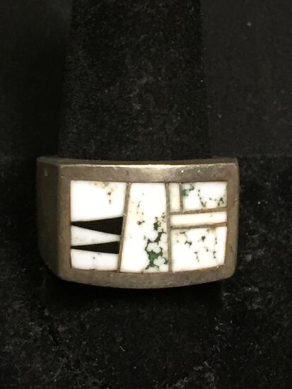EC Designer Old Pawn Native American 15mm Wide Tapered Solid Sterling Silver Ring Band w/ Marble &