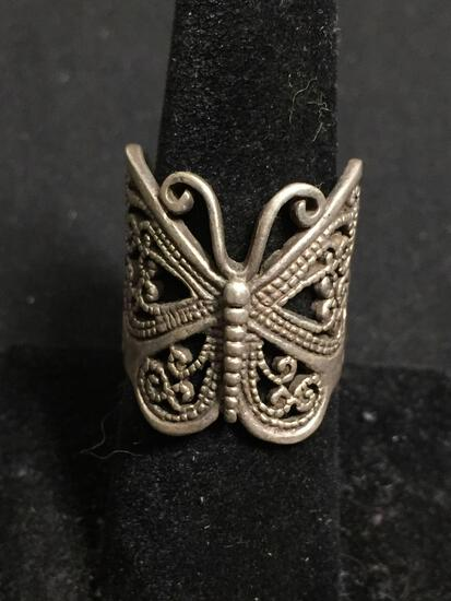 Milgrain Filigree Decorated 24mm Long Tapered Handmade Signed Designer Sterling Silver Butterfly