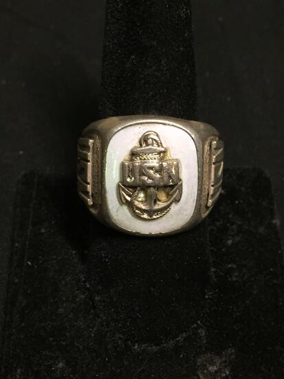D.B. Designer Mother of Pearl Inlaid US Navy Motif 20mm Wide Tapered Sterling Silver Signet Ring
