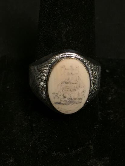 Oval 15x12mm Hand-Carved Scrimshaw Center High Polished & Textured Signed Designer Sterling Silver
