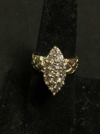 Marquise Shaped Round Faceted CZ Studded 18x8mm Cluster Top w/ Textured Shoulders Sterling Silver