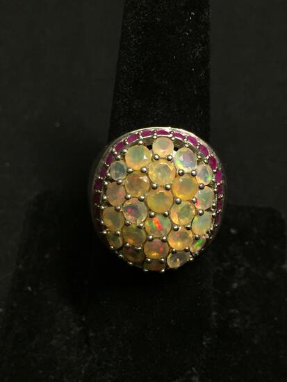 BBJ Designer Round Faceted Opal Cluster Center w/ Round Ruby Halo 22mm Wide Tapered Sterling Silver