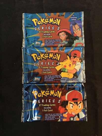 WOW Factory Sealed Vintage Pokemon Topps TV Annimation Series 2 Packs - 3X