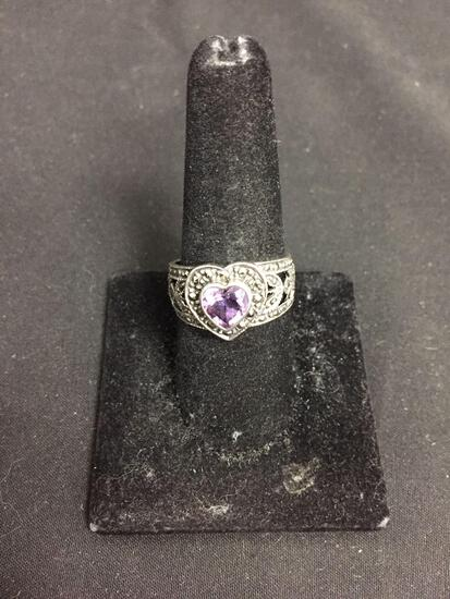 Bezel Set 7x7mm Heart Faceted Amethyst Center Milgrain Marcasite Detailed 13mm Wide Tapered Signed