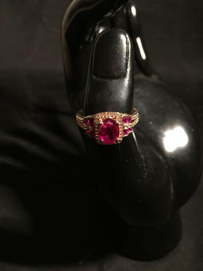 Oval Checkerboard Faceted 8x6mm Rubellite Center w/ Round White CZ Halo & Rubellite Baguette Sides