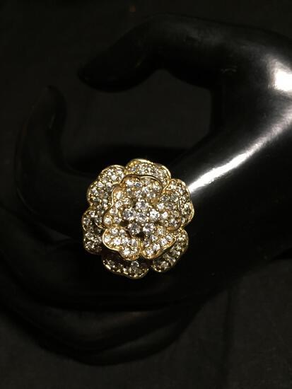 Round 25mm Diameter Three Tier Round CZ Encrusted Flower Blossom Feature Signed Designer Gold-Tone