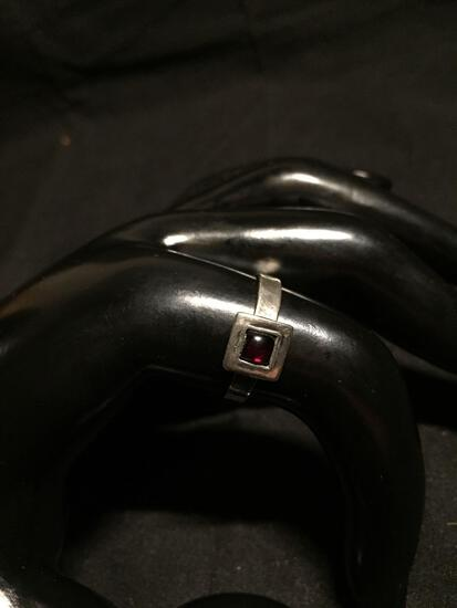 Old Pawn Israeli Handmade Sterling Silver Ring Band w/ Square 8mm Feature & Round 4mm Garnet