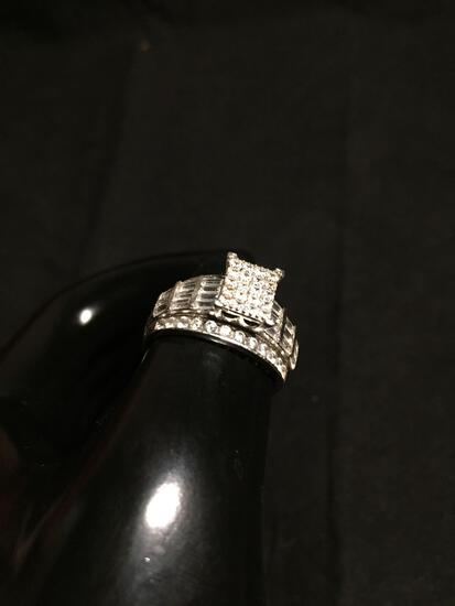 Rectangular 10x8mm Round Faceted CZ Cluster Top w/ Round & Tapered Baguette CZ Sides Sterling Silver