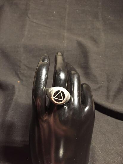 illuminati Symbol Black Enameled 15mm Wide Tapered Sterling Silver Ring Band