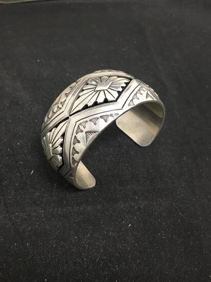 AY Signed Navajo HEAVY Old Pawn Sterling Silver Hand Made Cuff Bracelet - 74 Grams