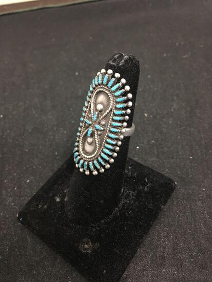 VS Johnson Signed Zuni Style Turquoise Work Sterling Silver Ring Size 5