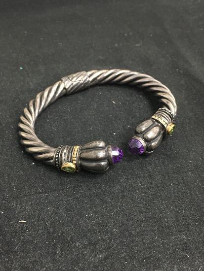 BJC Sterling Silver & 18K Gold Hinge Gemstone Cuff Bracelet - 44 Grams