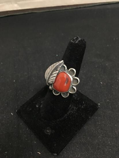 Red Coral Chunk Old Pawn Native American Leaf Sterling Silver Ring Silver 7