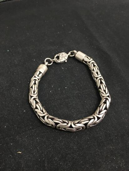 "HEAVY Woven Byzantine Chain 8.5"" Sterling Silver Bracelet W/ Ornate Nugget Clasp - 51 Grams"