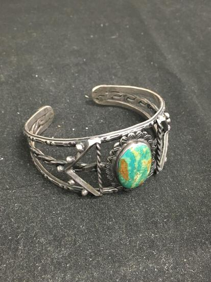 Antique Native American Sterling Silver Large Cuff Bracelet W/ Stunning Green Turquoise Stone