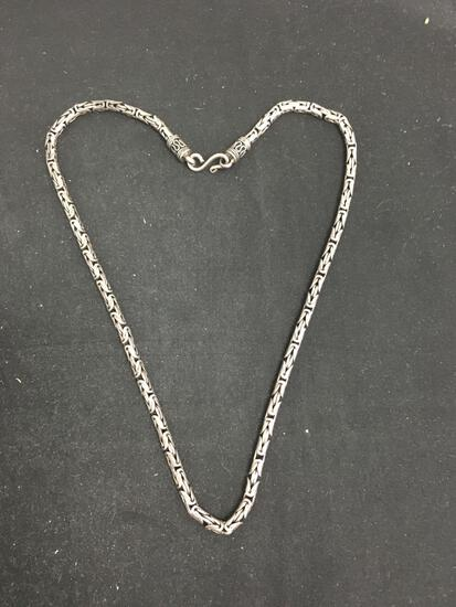 "20"" Heavy Sterling Silver Byzantine Chain Necklace - 48 Grams"