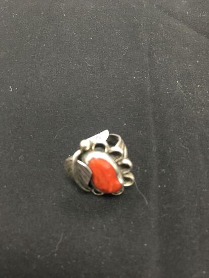 Beautiful Red Coral Old Pawn Sterling Silver Ring Size 6.5