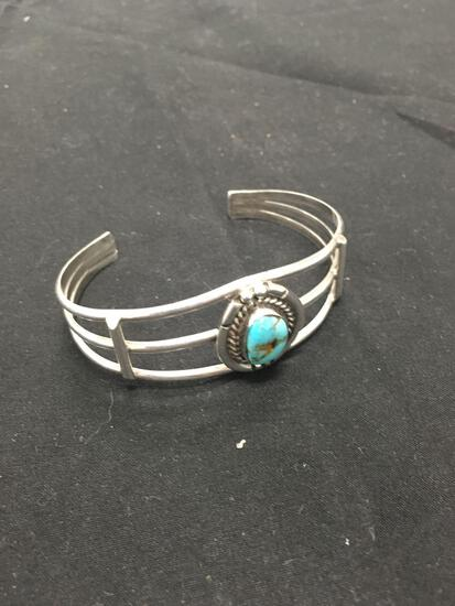 Native American High Polished Turquoise Sterling Silver Cuff Bracelet