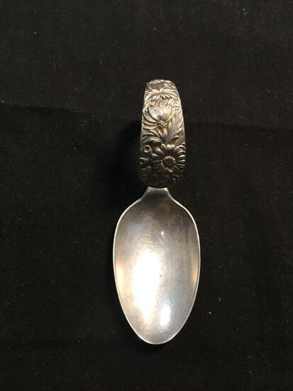 Kirk & Son Co Designer Floral Filigree Decorated 3.5x1.25in Vintage Collectible Solid Sterling