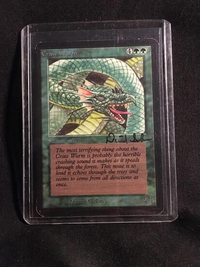 Signed Magic the Gathering CRAW WURM Vintage ALPHA Trading Card from Collection
