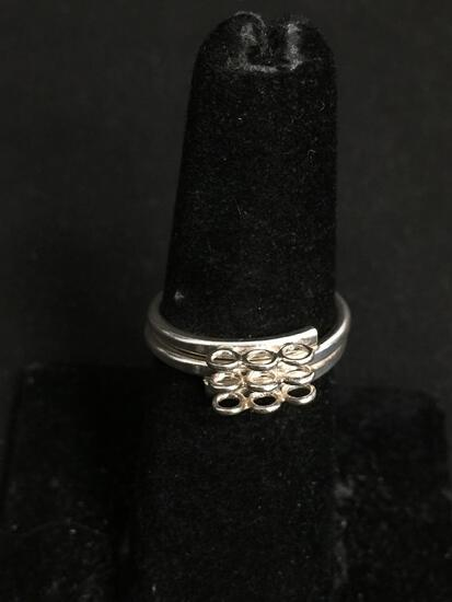 Three Rows Matched Ring Center Detail 5.5mm Wide High Polished Sterling Silver Coil Ring Band