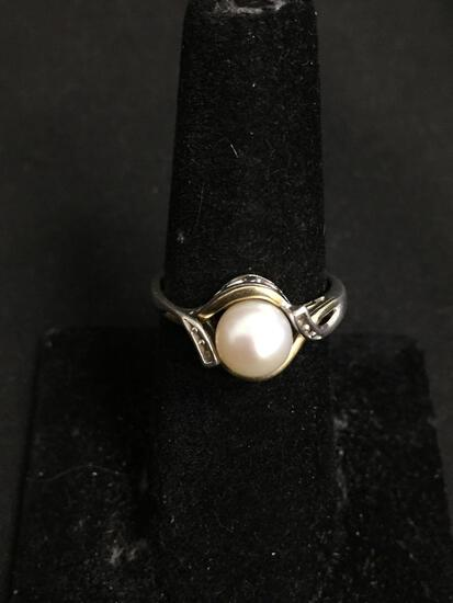 Round 7mm White Pearl Center w/ Twin Round Diamond Accents Sterling Silver & 10kt Gold Ring Band