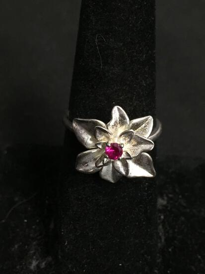 NVC Designer 13mm Diameter Flower Blossom Feature w/ Round 3mm Created Ruby Center High Polished