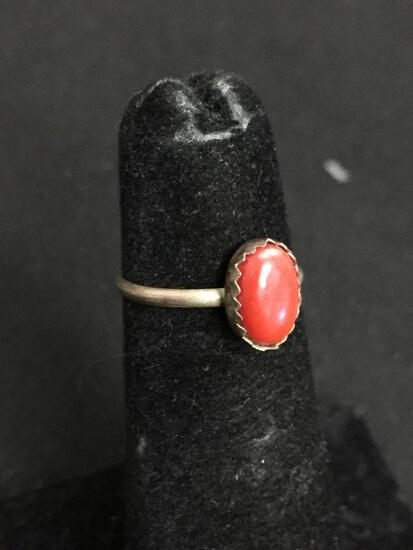 Oval 8x5mm Coral Cabochon Center Old Pawn Native American Sterling Silver Ring Band