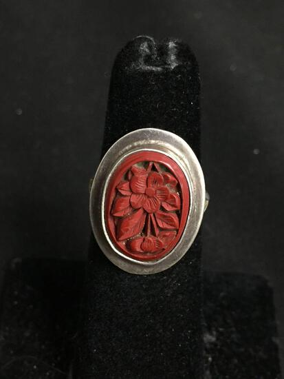Oval 15x11mm Hand-Carved Red Coral Floral Motif Center Split Shank Old Pawn Mexico Sterling Silver