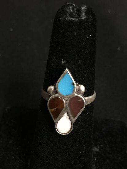 Four Multi-Gemstone Teardrop Shaped Inlaid 20x11mm Top Old Pawn Mexico Sterling Silver Ring Band