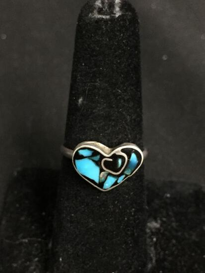 Broken Edge Turquoise Inlaid 14x10mm Heart Center Old Pawn Mexico Sterling Silver Ring Band