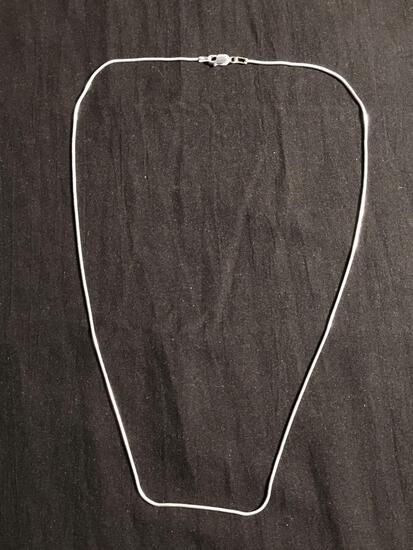 Snake Link 1mm Wide 20in Long High Polished Signed Designer Sterling Silver Italian Made Chain