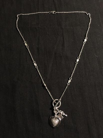 Judith Ripka Styled Design 18in Long Sterling Silver Toggle Necklace w/ Diamond Studded Heart & Lock