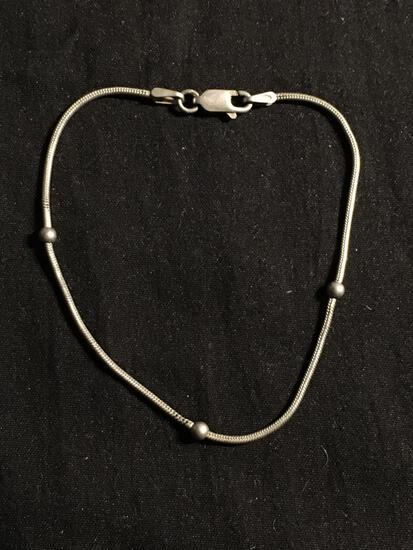 Snake Link 1mm Wide 7in Long Sterling Silver Bracelet w/ Three Round 3mm Bead Ball Accents
