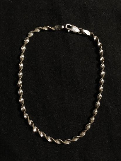 Singapore Link 2.5mm Wide 8in Long High Polished Italian Made Sterling Silver Bracelet